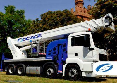 camion con piattaforma elevatrice telescopica jib ForSte 54TJJ right side Socage