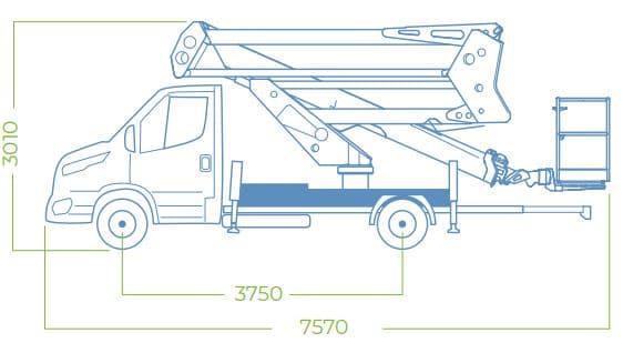 dimensioni camion con cestello 24D SPEED
